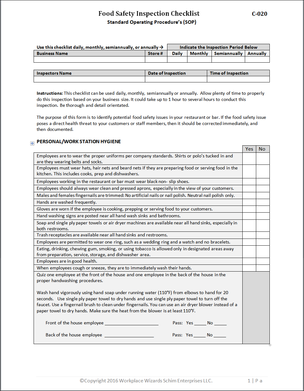 New Cumberland Pennsylvania Restaurant Management Forms