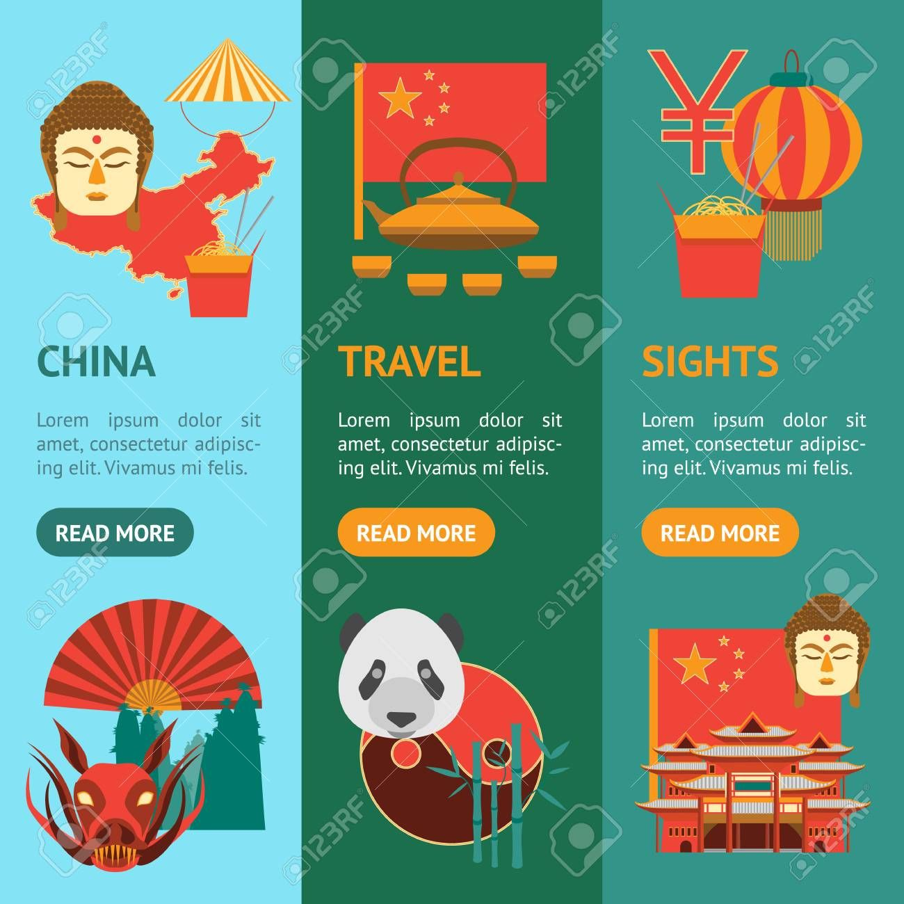 Cartoon Chinese Culture and Tourism Banner Vecrtical Set. Vector Illustration ,