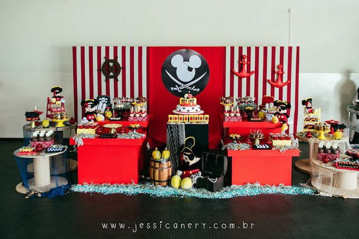 Head Table from a Mickey Mouse Pirate Themed Birthday Party via - mickey mouse boy birthday party ideas