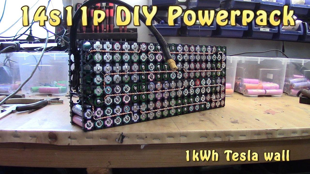 Build 48v 18650 Tesla Style Pack 14s11p Tesla Powerwall Diy Tech