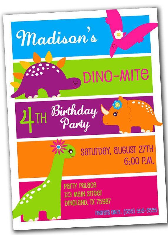 Printable Digital DINOSAUR Birthday Party Invitation for Girl