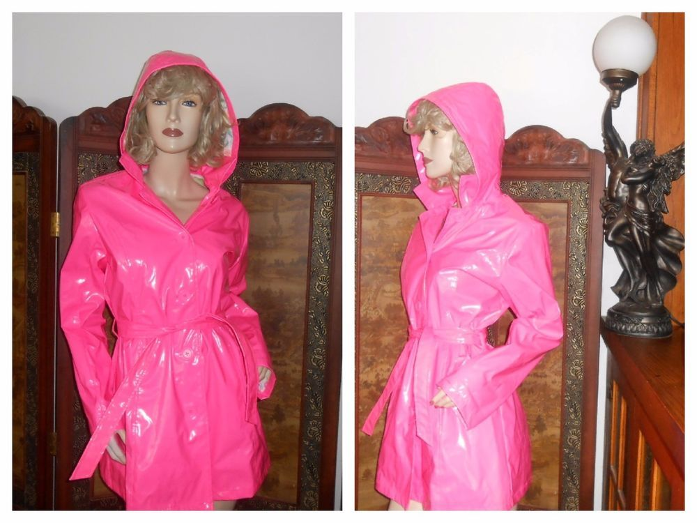 vtg S/M Shiny Hot Pink Hooded PVC vinyl raincoat rain jacket ...