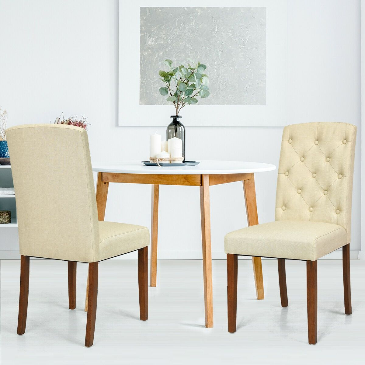 Set Of 2 Fabric Wood Accent Dining Chair Tufted Modern Living Room
