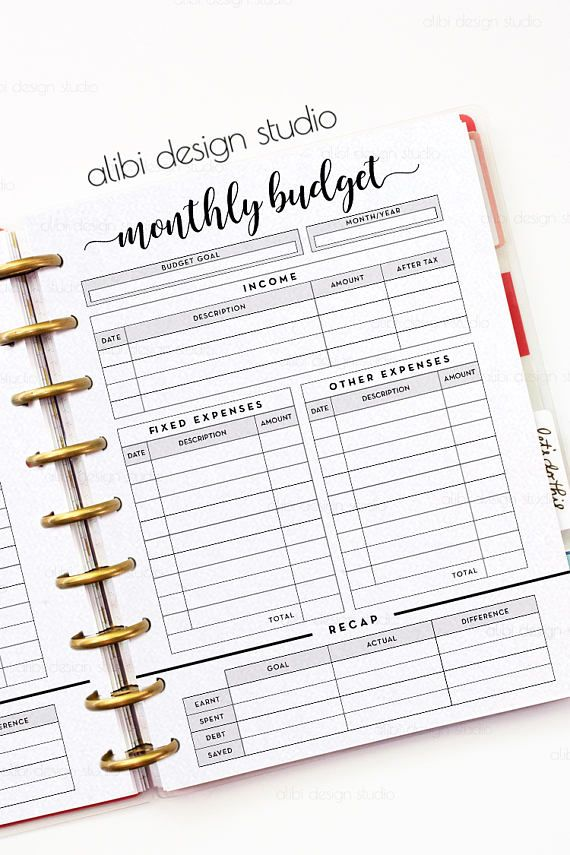 Monthly Budget, Happy Planner, Budget Planner, MAMBI, Financial ...