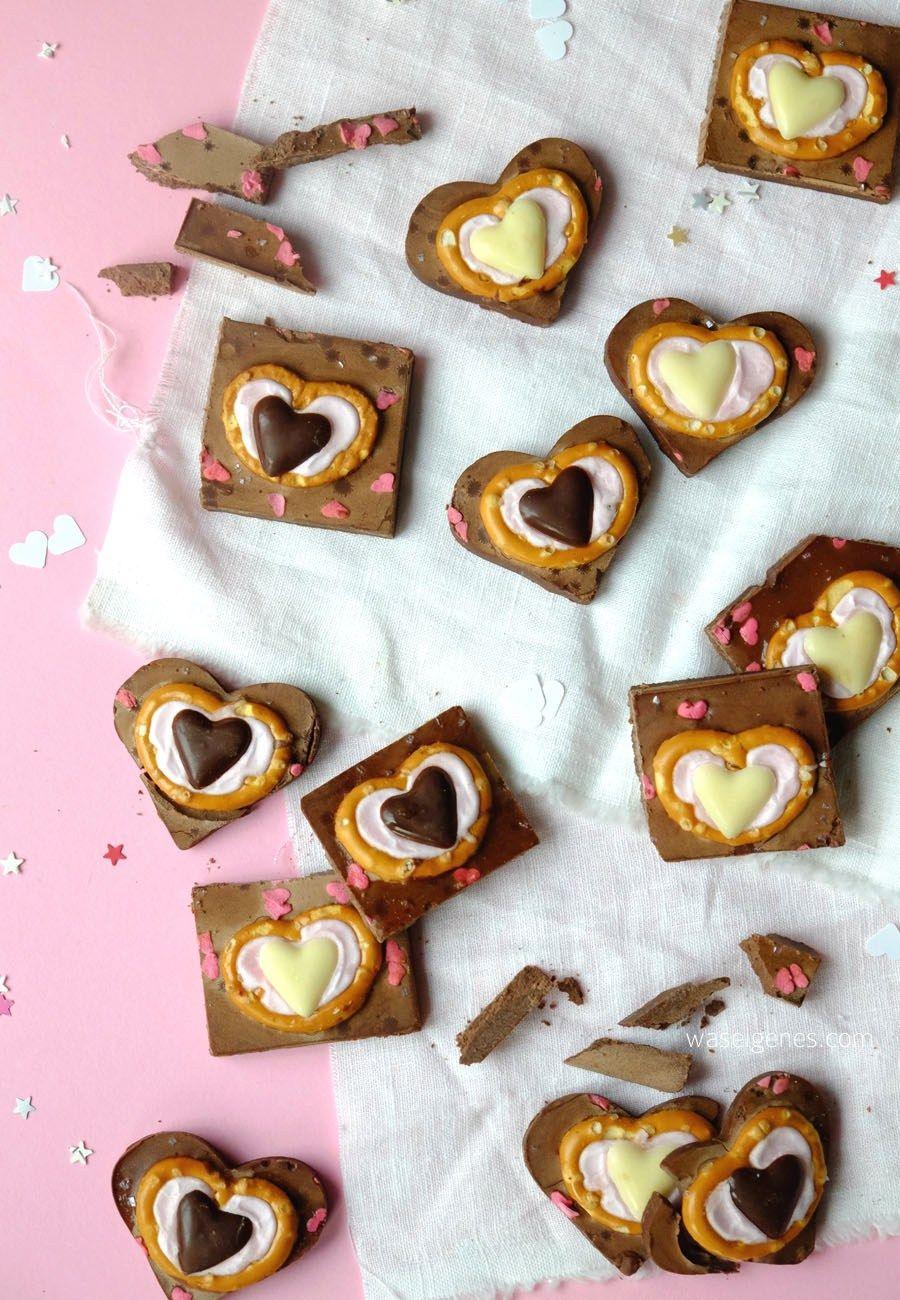 Schokoladen Herzen Zuckerguß Brezeln   Brezeln, Zum valentinstag ...