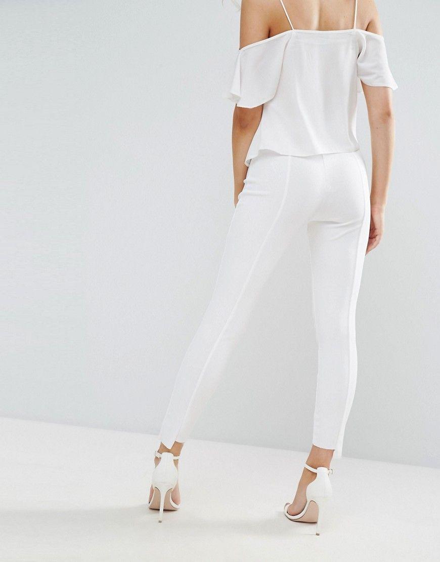 Missguided Petite Step Hem Cigarette Pants - White