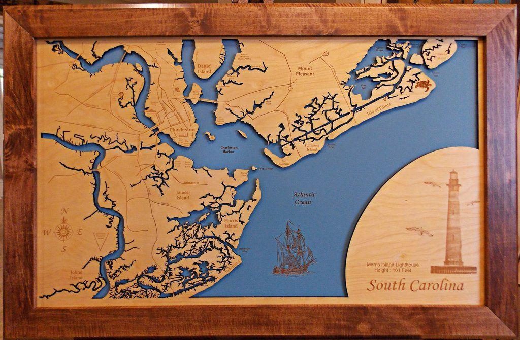 Charleston South Carolina Wood Laser Cut Map