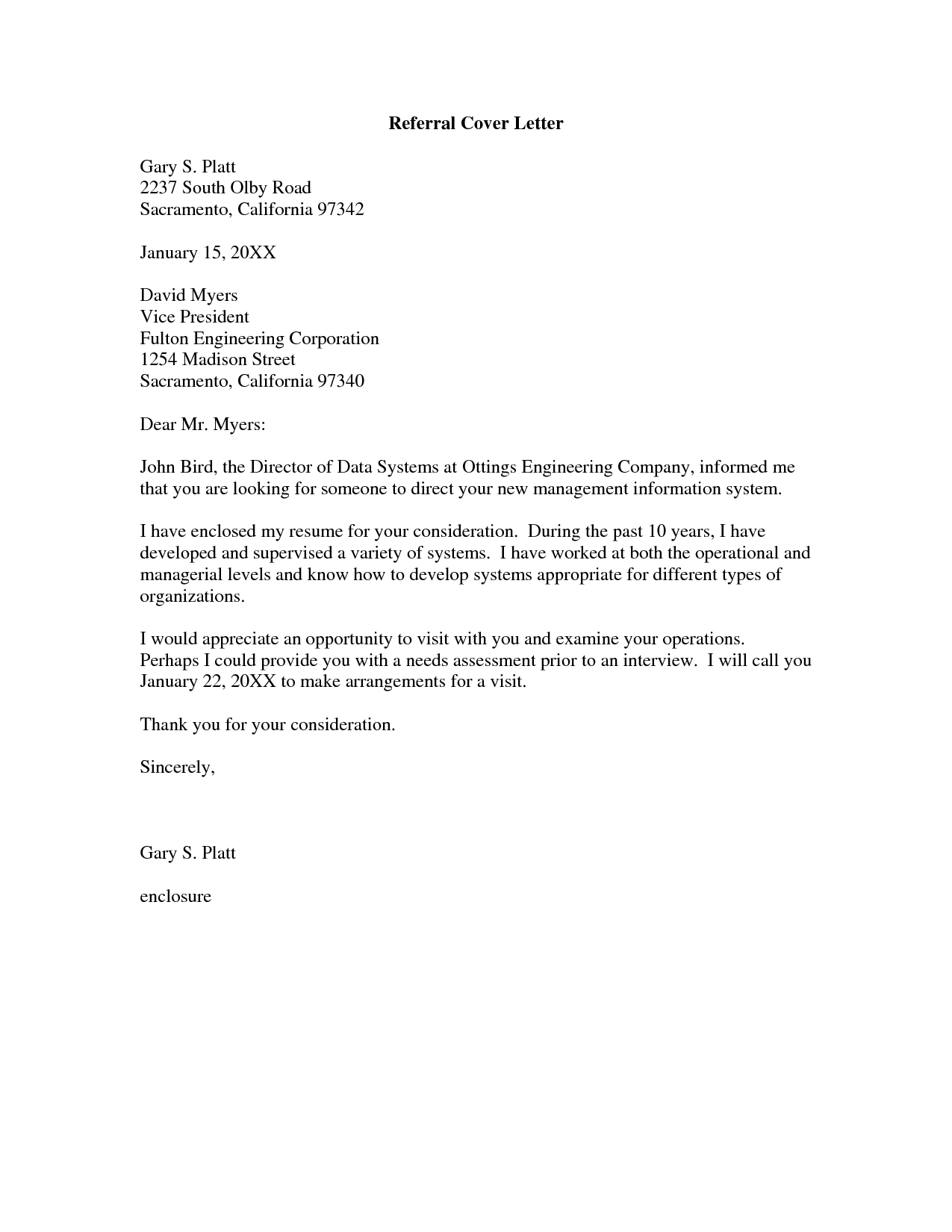 Referral Cover Letter Cover Letter Pinterest