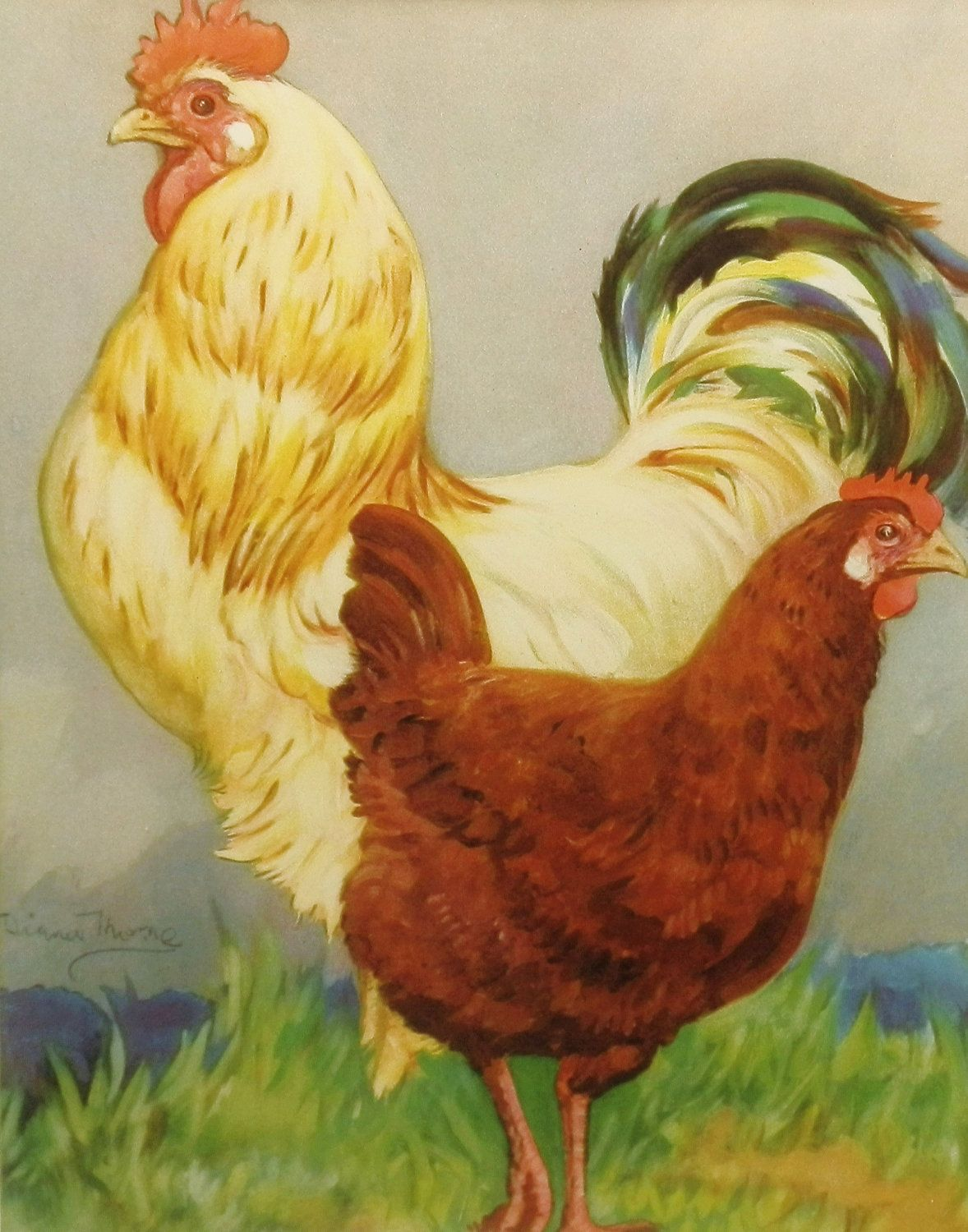 Chicken paintings vintage roosters kitchen home decor for Rooster home decor