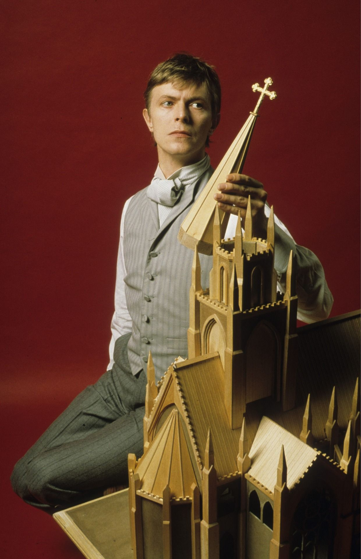 """David Bowie as John Merrick , in the play """"The Elephant Man"""" by Bernard Pomerance, directed by Jack Hofsiss in Broadway, photo by Ron Scherl, 1980"""