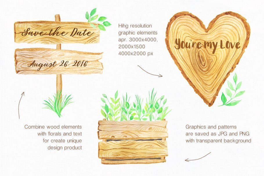 Ad Watercolor Wooden Design Set by LarysaZabrotskaya on Creative Market This Pcreative