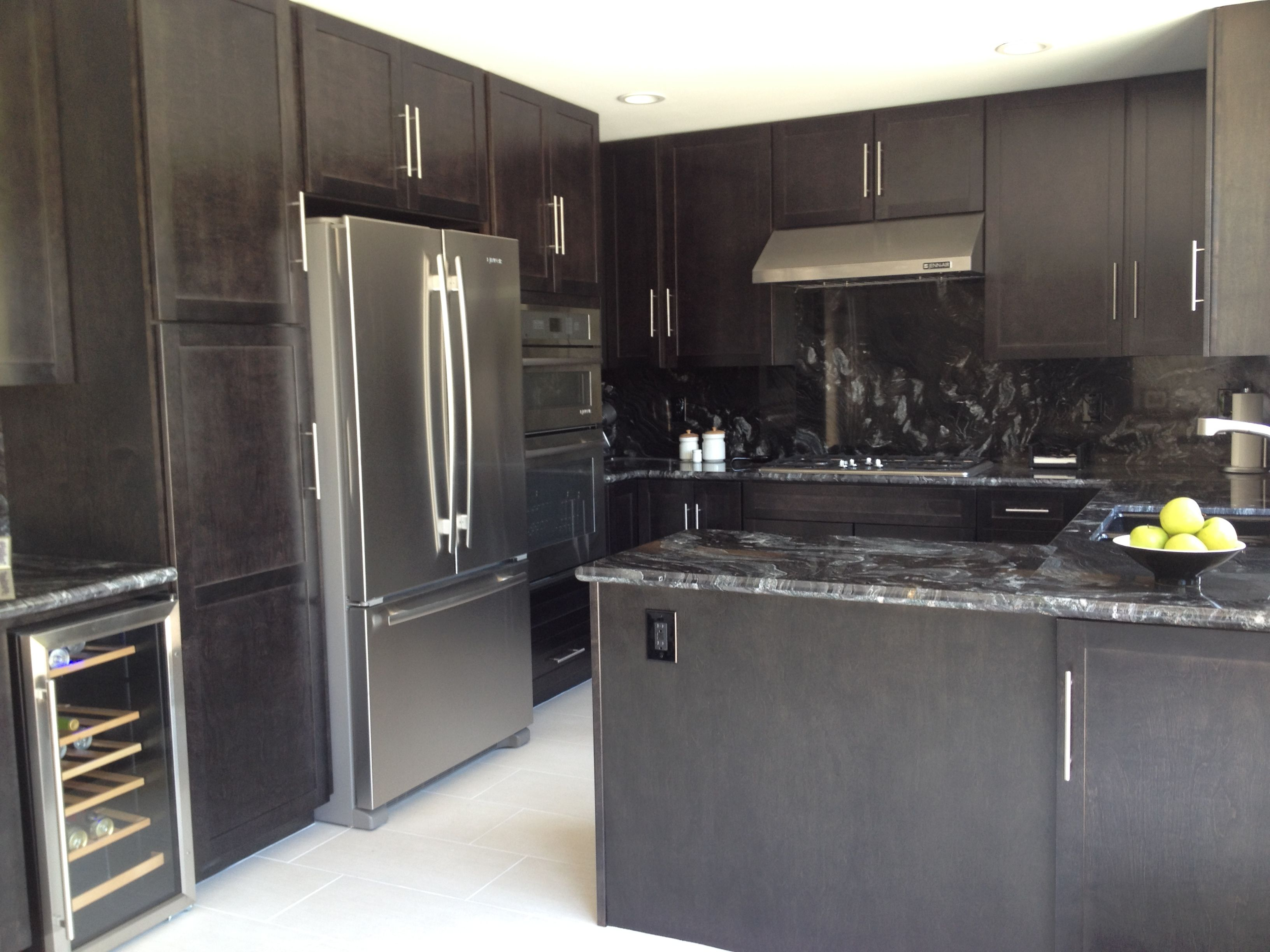 Black slate stained maple with dark granite and white porcelain ...