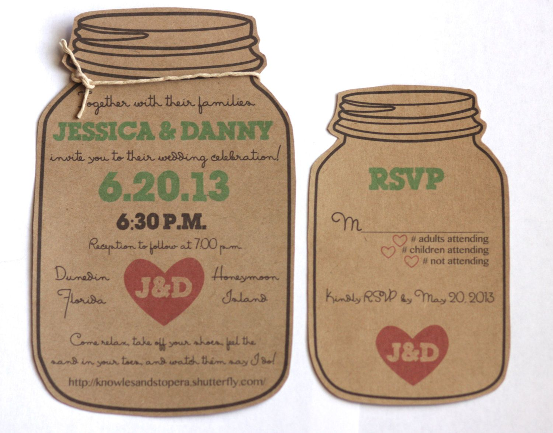 Dye cut mason jar wedding invitation and rsvp by aestheticjourneys