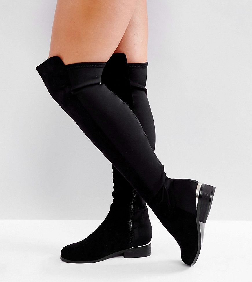 c7311c85843 ASOS KNIGHT Wide Fit Stretch Over The Knee Boots - Black | Boots in ...
