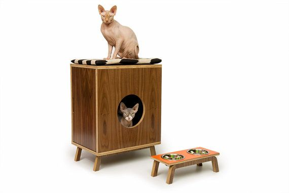 Compact I Cabinet // Mid-Century Modern Pet Furniture // Cat Litter Box Cover // Pet House // Side Table on Etsy, £252.63