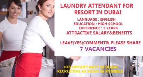Laundry Attendant For Resort Required In Dubai Dubai Resorts