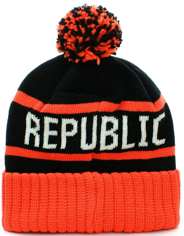 99ddc3211f0 California Republic Cuff Beanie Cable Knit Pom Pom Hat Cap - Black ...