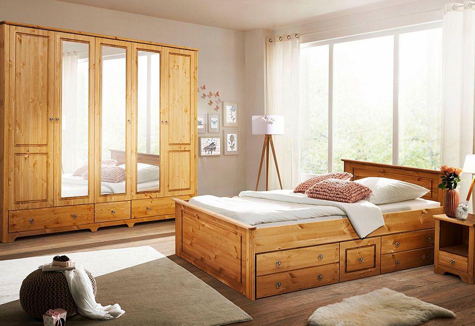 Home affaire Schlafzimmer-Set «Hugo» (4-tlg), Bett 180 cm, 5-trg
