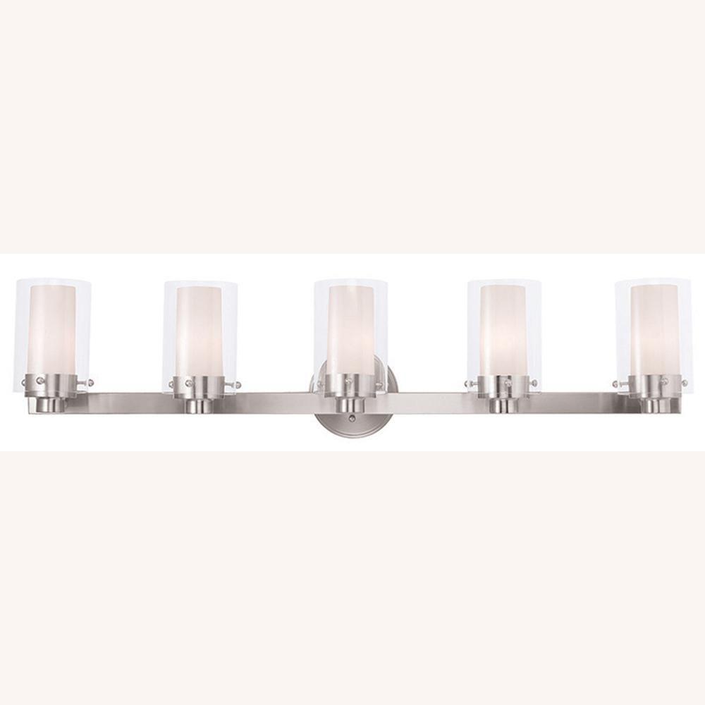 Photo of Livex Lighting Manhattan 5-Licht-Badleuchte aus gebürstetem Nickel 15455-91 – The Home Depot