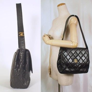 bf036dbf666c Quilted Vintage Quilted Tote Black Lambskin Leather Shoulder Bag ...