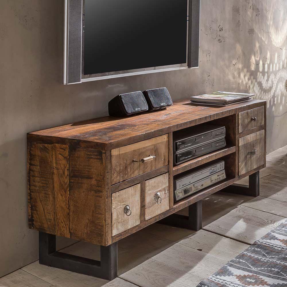 TV Unterschrank im Loft Design Mangobaum Recyclingholz Jetzt ...