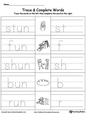 photograph regarding Word Family Printable referred to as UN Phrase Household Hint and Compose Term Loved ones Worksheets