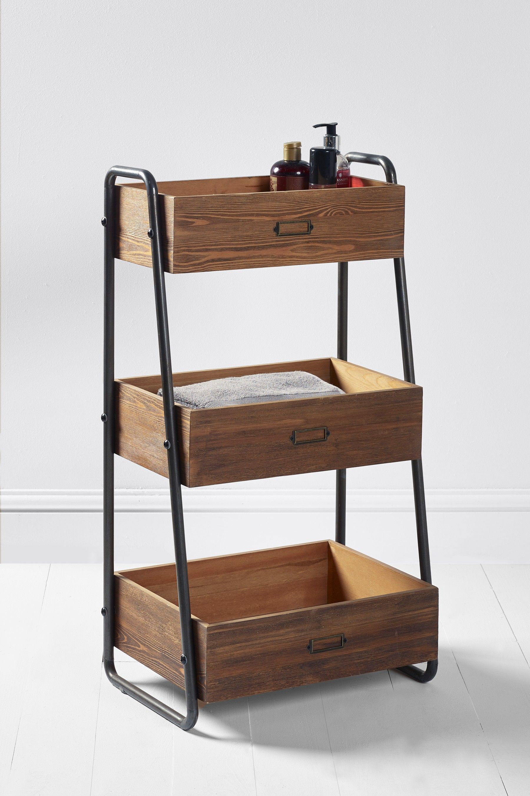Next Hudson Tiered Caddy Natural Wooden Bathroom Storage Wooden Accessories Silver Home Accessories