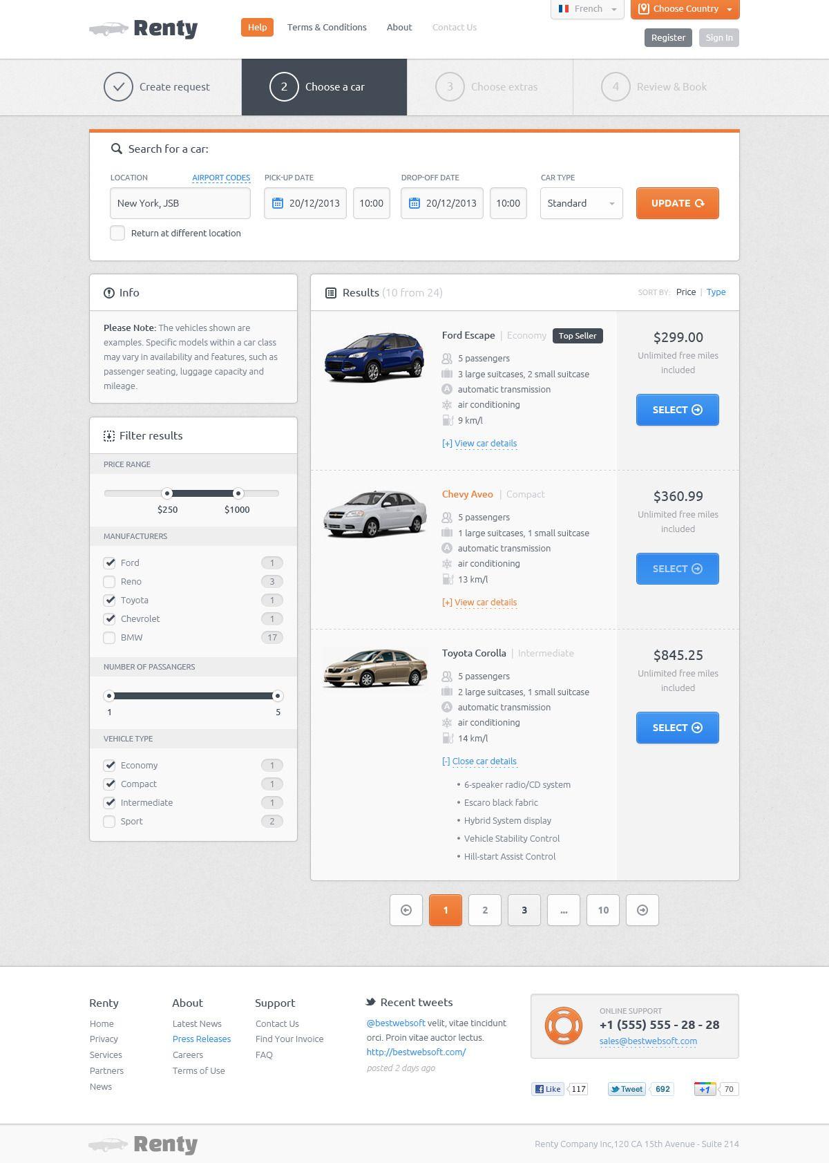 Renty car rental booking psd template design webdesign template web