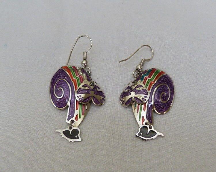 Vintage Edgar Berebi Purple Enamel Moving Head Kitty Cat Dangling Mouse Earrings