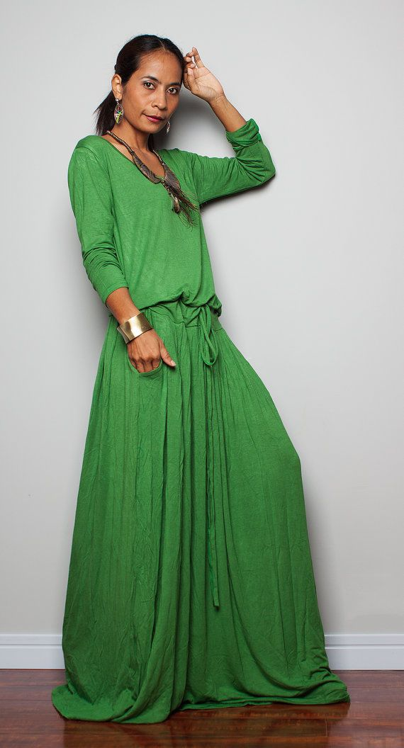 c591812ea376 Handmade floor length green maxi dress with long sleeves and pockets ...
