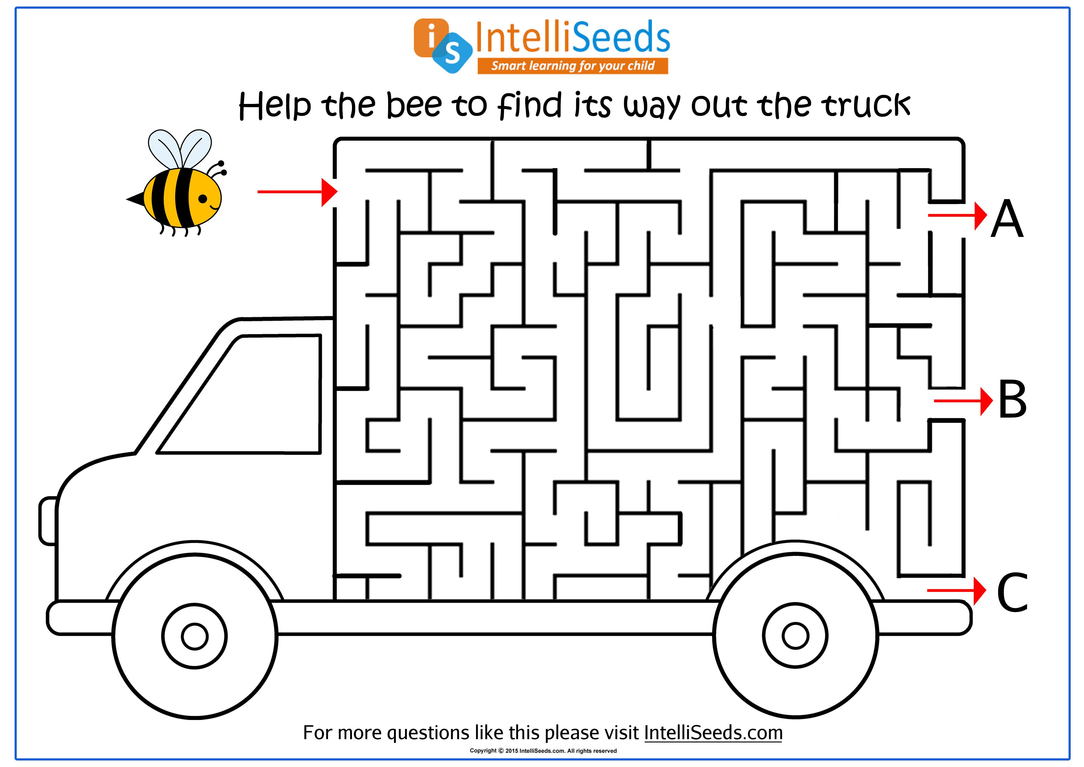 Help The Bee Find Its Way Out Through The Truck In This