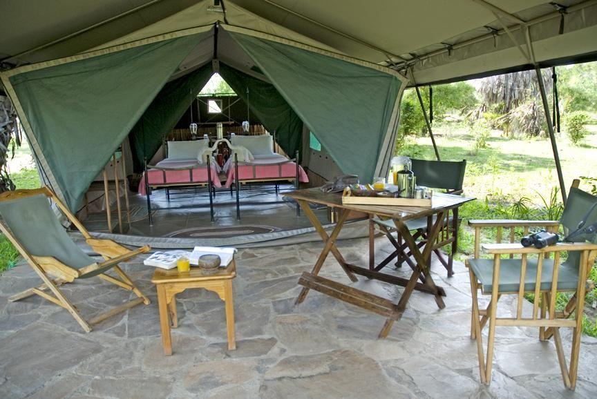 Lake Manze Camp, tent'veranda, Selous Game Reserve, Tanzania