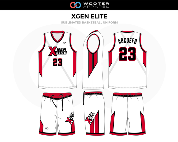 Xgen Elite Red Black White Grey Custom Basketball Uniforms Jerseys Shorts Basketball Uniforms Design Custom Basketball Uniforms Jersey Design