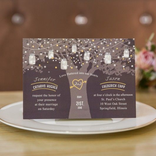 Love Tree Wedding Invitation With Foil Le Lights Ewfi022 As Low 1 29