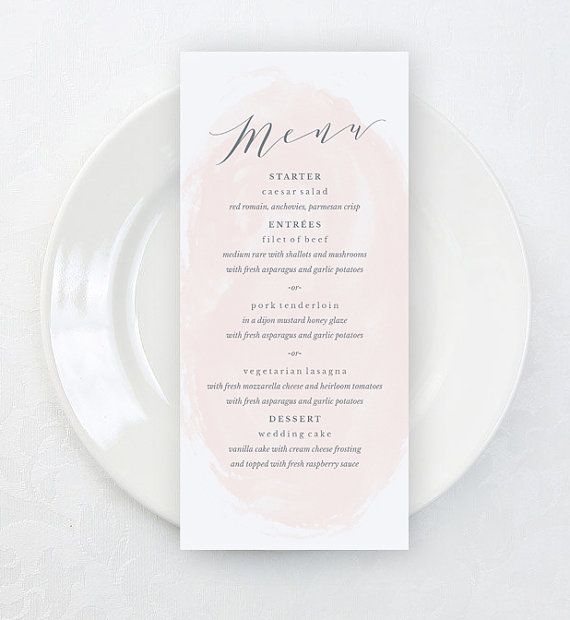 Printable Wedding Menu Template Watercolor By Karlykdesignshop