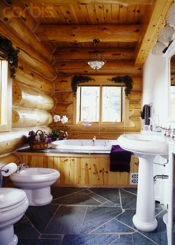 Log Cabin Bathroom With Gray Slate Floor Tiles Log Cabin Bathrooms Cabin Bathrooms Log Home Bathrooms