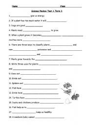 English worksheet: Science Review Grade 2 | Projects to Try ...
