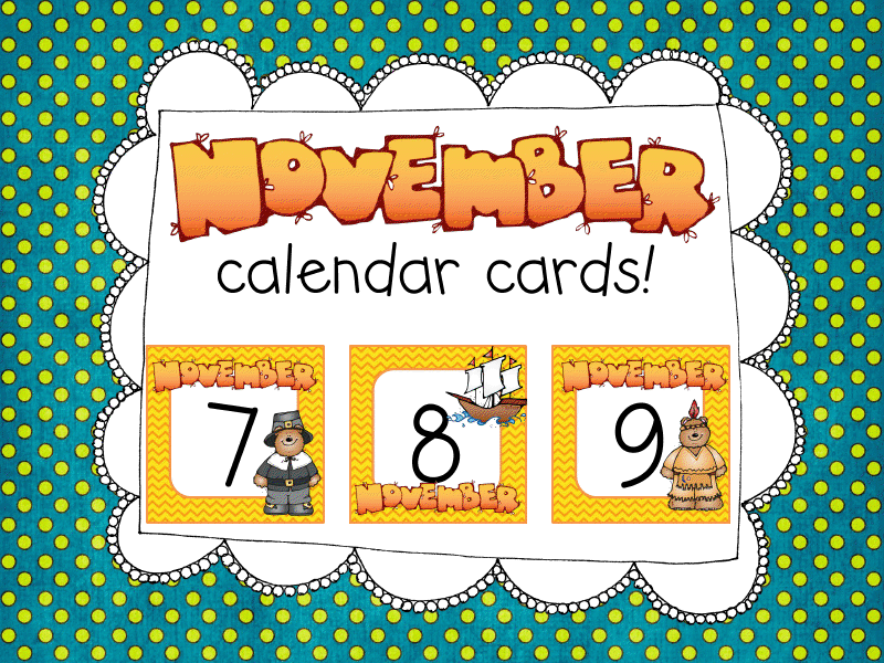 Free November Calendar cards for fans! Math stations