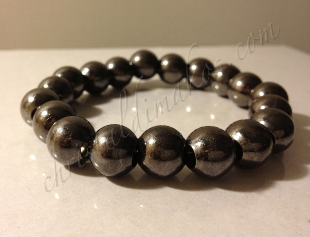 silver solid bead bracelet large 1