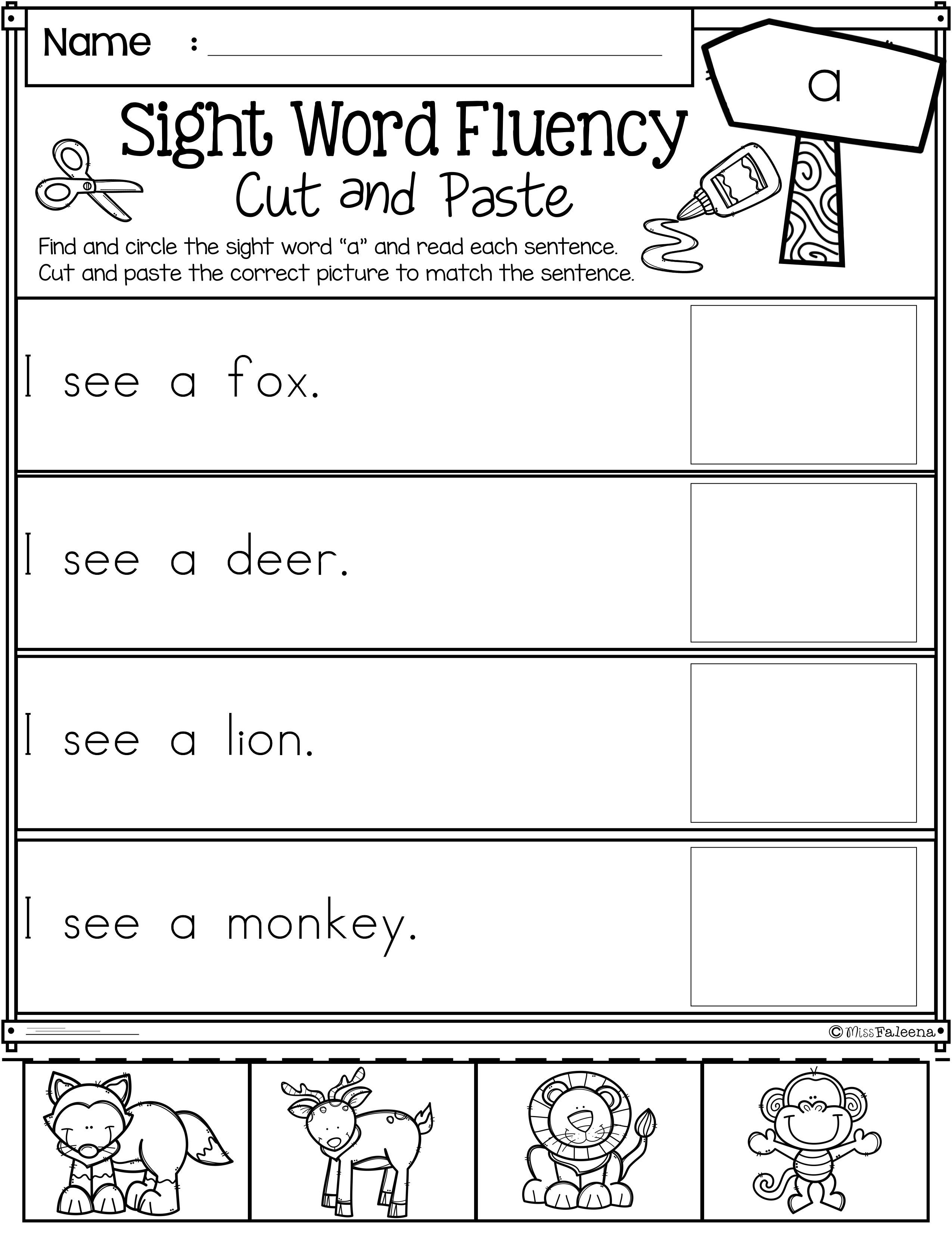 Sight Word Fluency Cut And Paste Pre Primer En