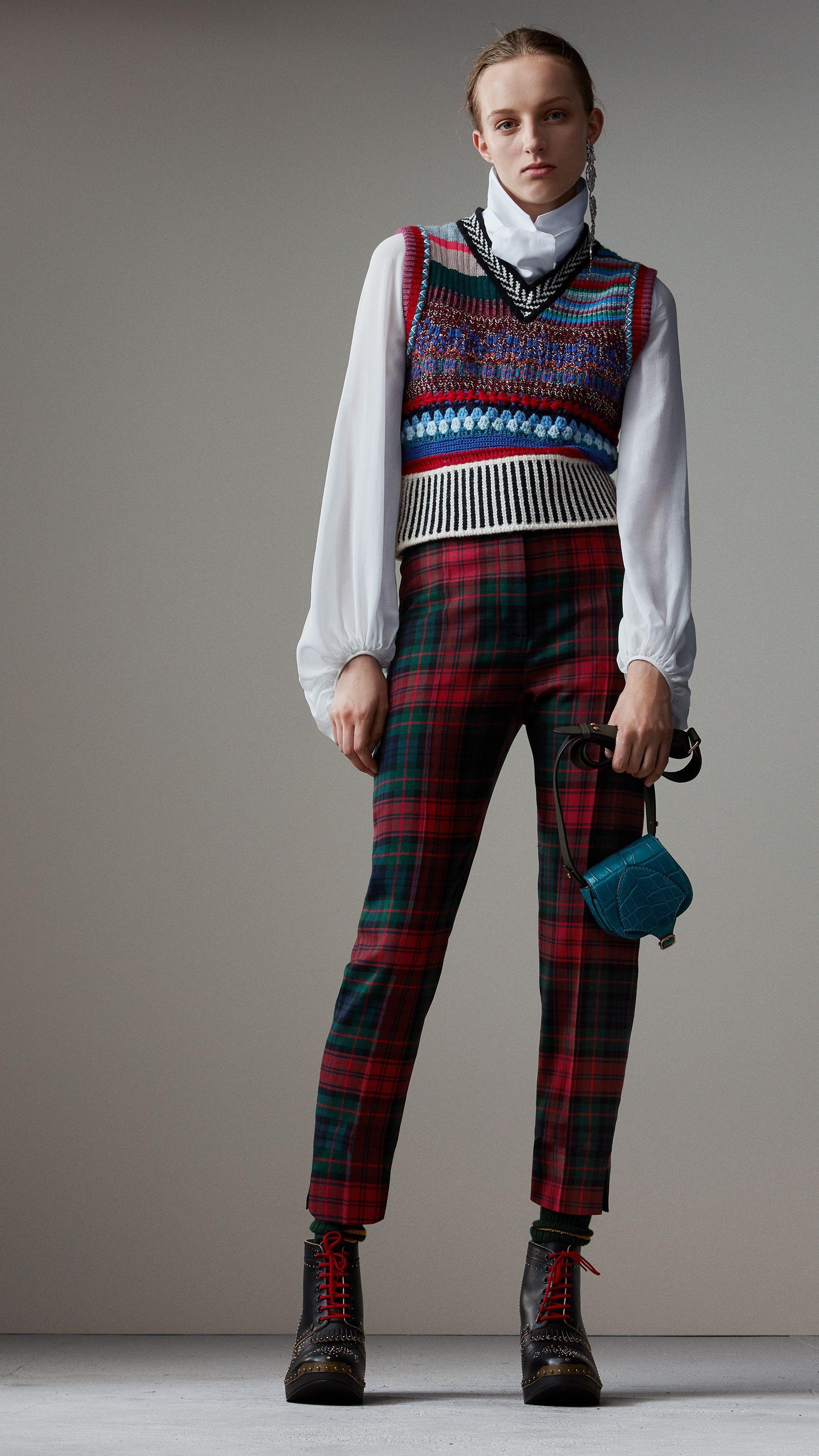 Pantalones de cintura alta en lana a cuadros escoceses (Rojo Intenso) -  Mujer  0ee5fff3dc69