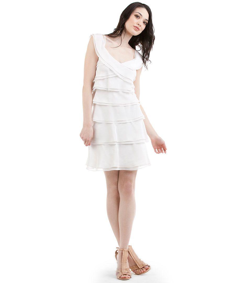 Rue La La Bcbgmaxazria White Silk Layered Ruffle Dress Layered Ruffle Dress Dresses Pretty Dresses [ 1080 x 864 Pixel ]