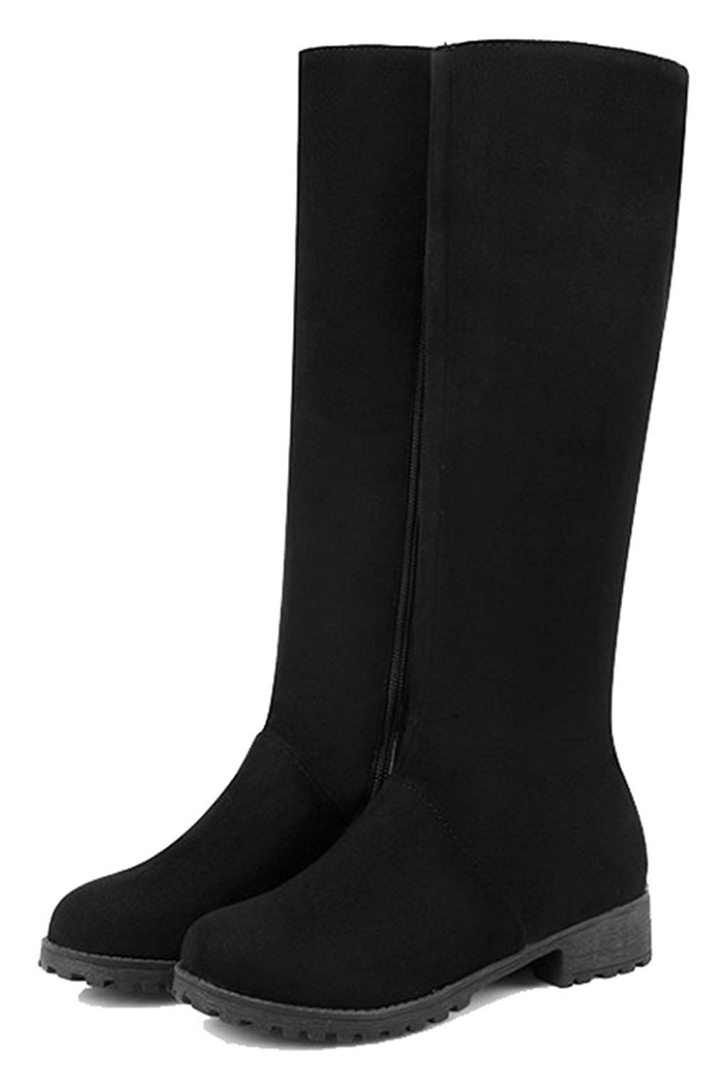 c8946a7f7d47 SHOWHOW Women s Simple Microsuede Low Heel Side Zipper Knee High Boots    For more information