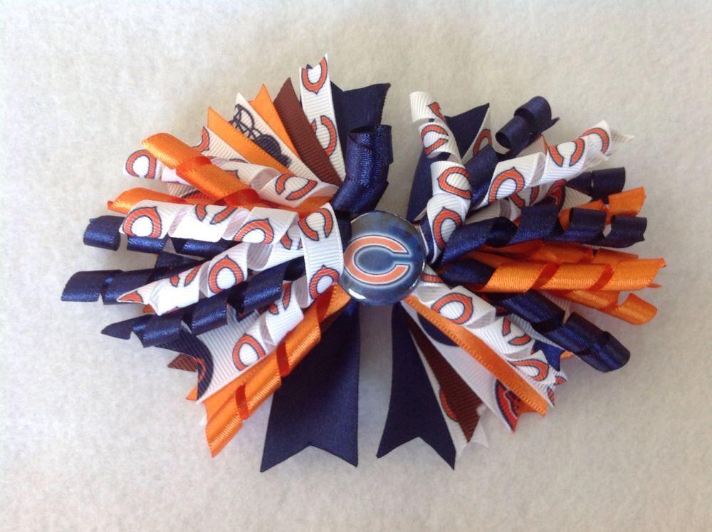 Chicago Bears Corker Hair Bow With Matching Headband, Girls handmade #Handmade