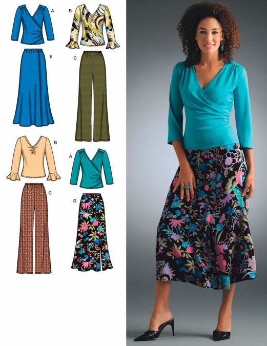 PLUS SIZE Pants Skirt Top Sewing Pattern - Sizes 20W-28W - Reduced ...