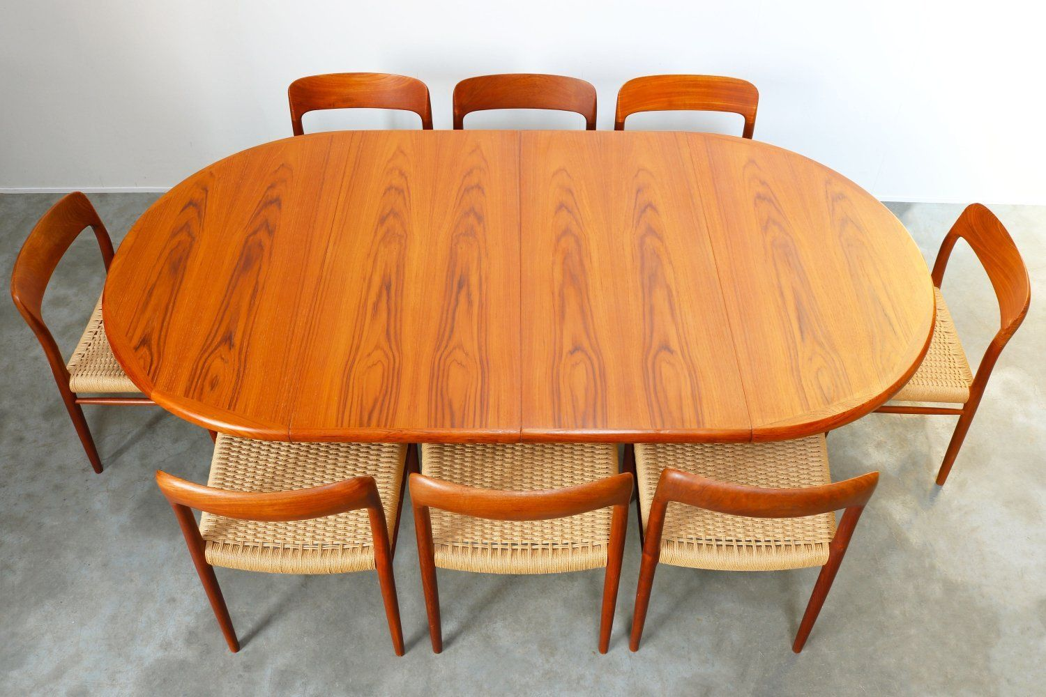 For Sale Large Danish Dining Room Set In Teak Papercord By