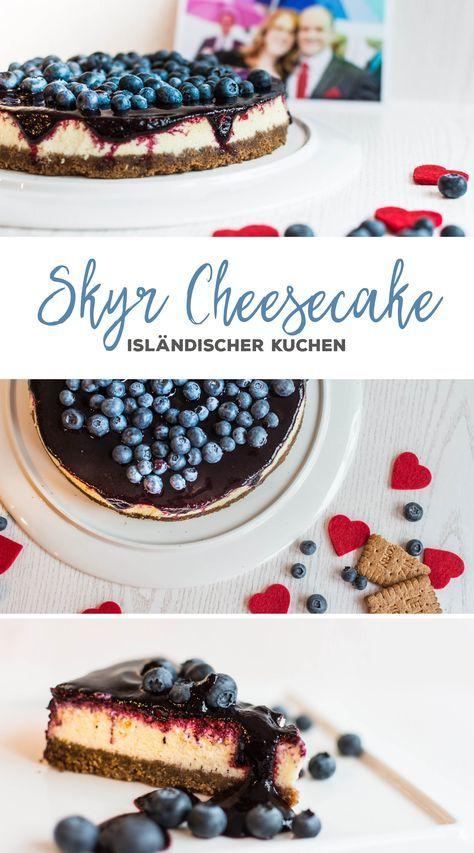 Isländischer Skyr-Cheesecake mit Blaubeertopping