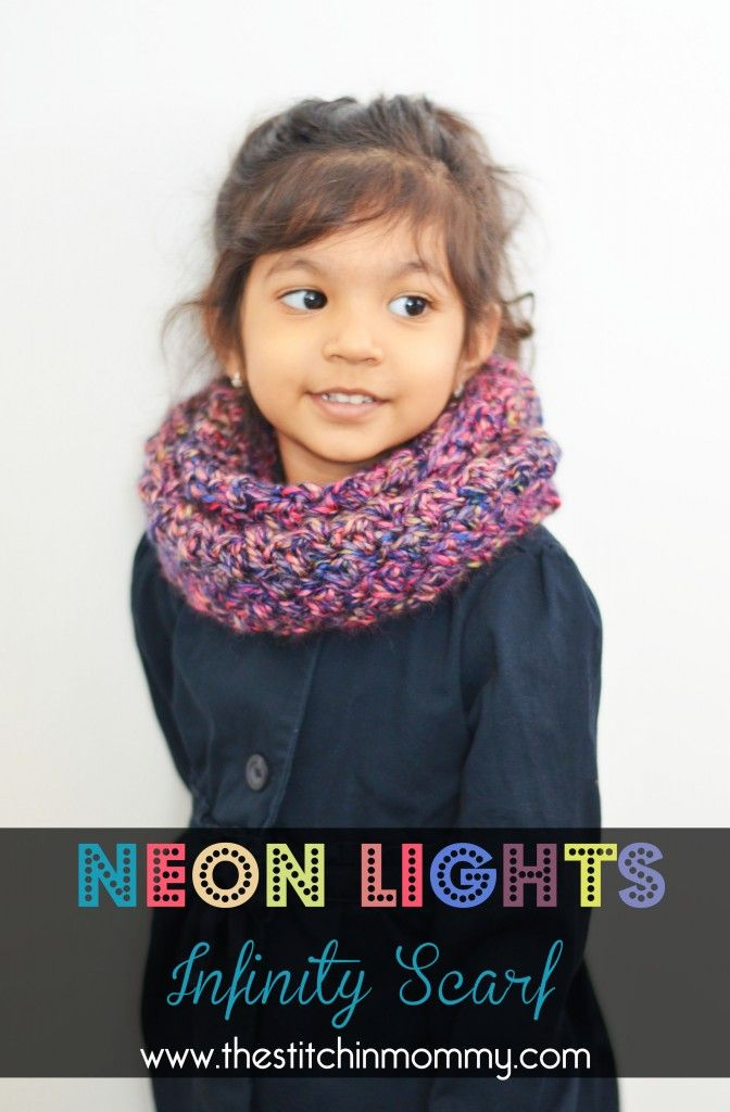 Neon lights infinity scarf for girls neon lighting infinity and neon i made this gorgeous little neon lights infinity scarf for my little girl with one skein of red heart medley its an easy pattern that works up quickly dt1010fo