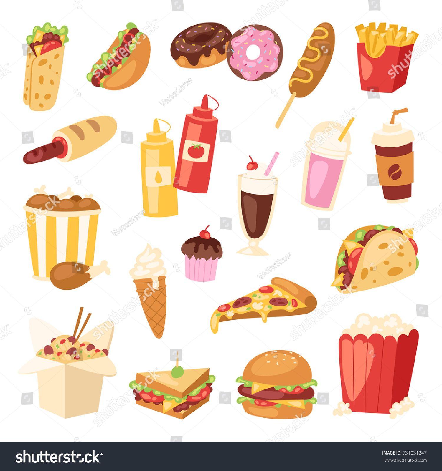 Cartoon Fast Food Unhealthy Burger Sandwich Hamburger Pizza Meal