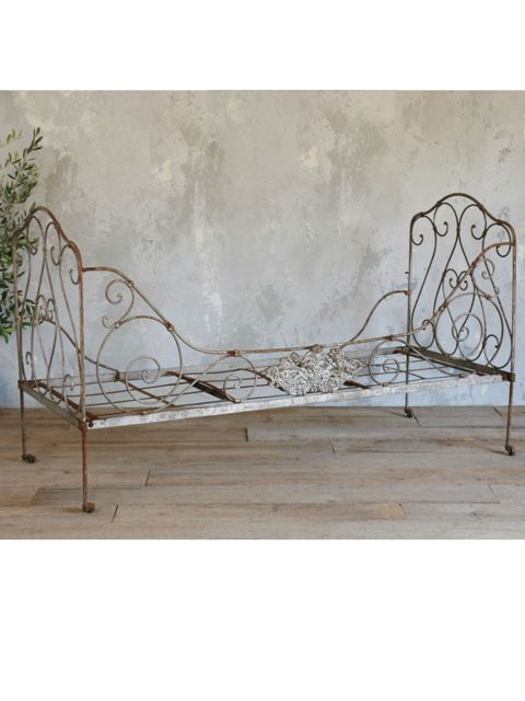 Antique French Iron Daybed For A Summer Garden Hideaway